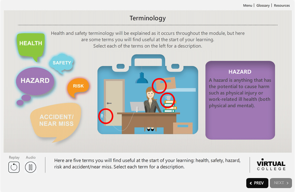 Health and safety elearning content
